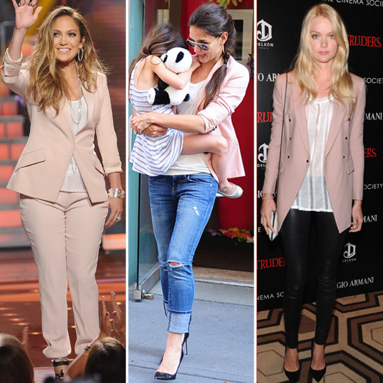 See which celebs are loving these pastel-pink blazers.