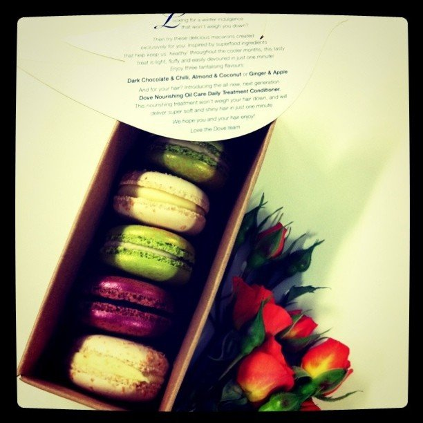 Are we making you hungry yet? Macarons and roses thanks to Dove.