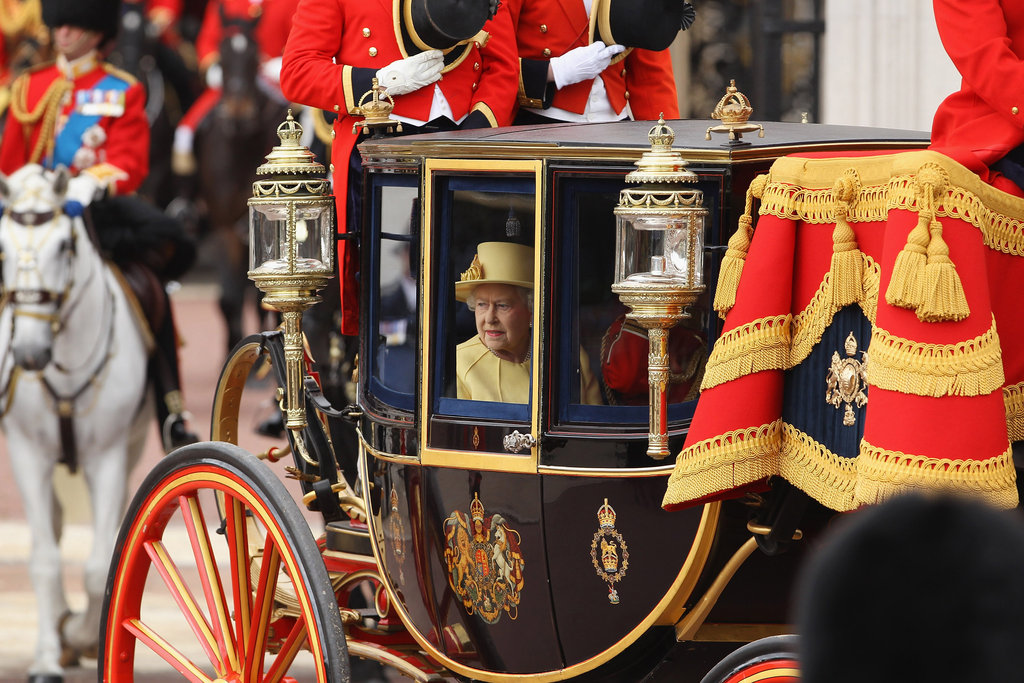 Queen Elizabeth arrived in a carriage at the Trooping the Colour ceremony in London.