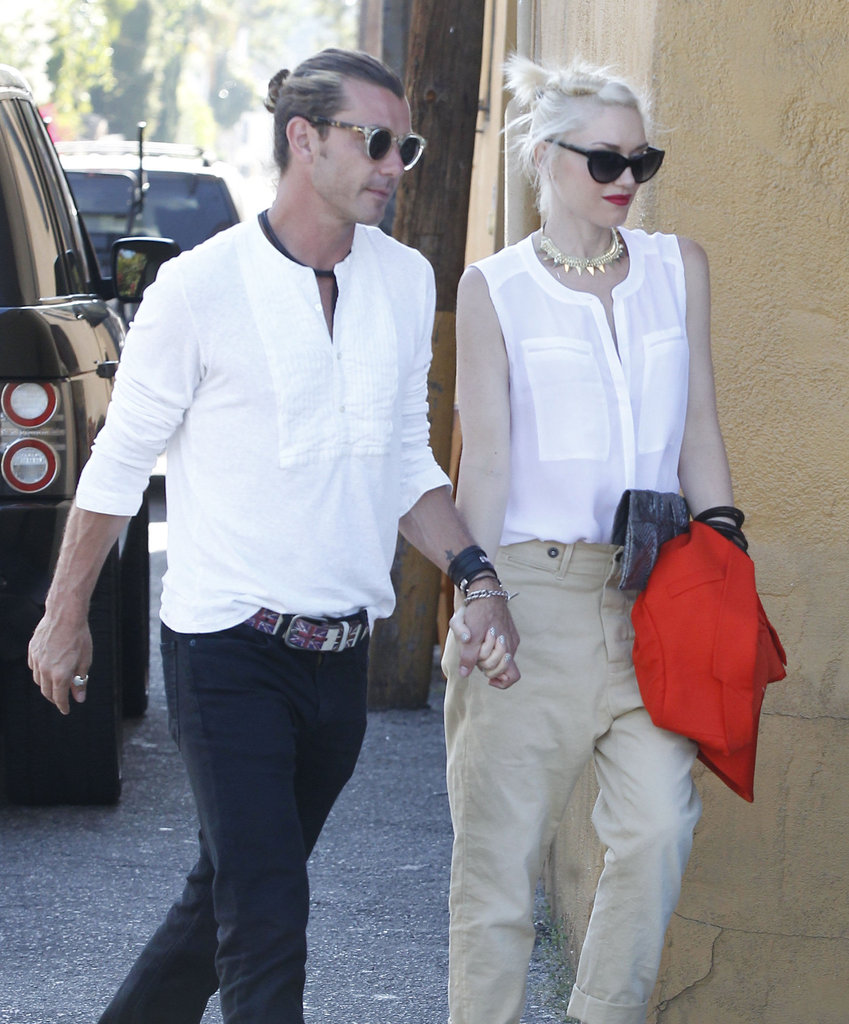 Gwen Stefani and husband Gavin Rossdale held hands on their way into dinner in LA.