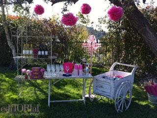I love myself some homemade hanging paper tissue balls! Here, we set up an adult beverage station/bar with pieces from my vintage collection. That antique flower cart was lined and then served as a perfect home for sodas and waters on ice.
