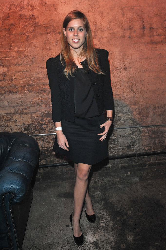 Beatrice took an understated approach for a night out with the Clinton Foundation in London, suiting up in smart black separates.