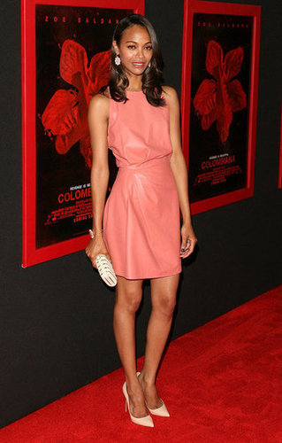 For the LA premiere of Colombiana in 2011, the starlet wore a soft pink leather dress by Valentino and accented it with neutral-toned accessories.