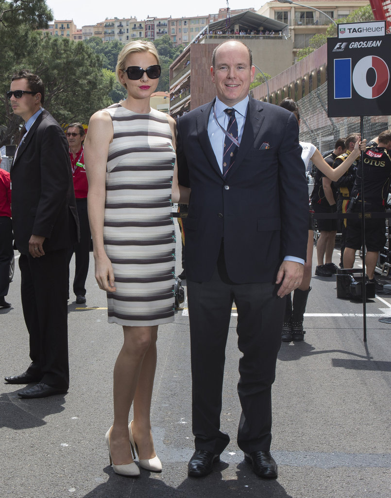 Charlene showed off a sharp little shift dress and oversized shades for a dose of everyday chic with her husband, Prince Albert.