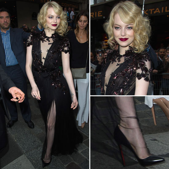 See Emma Stone's Black, Sheer & Sexy Gucci Gown at the The Amazing Spider-Man Premiere in Paris From All Angles