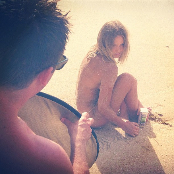 She went topless for a H2COCO Coconut Water campaign shoot in Bali. Source: Instagram user mslarabingle
