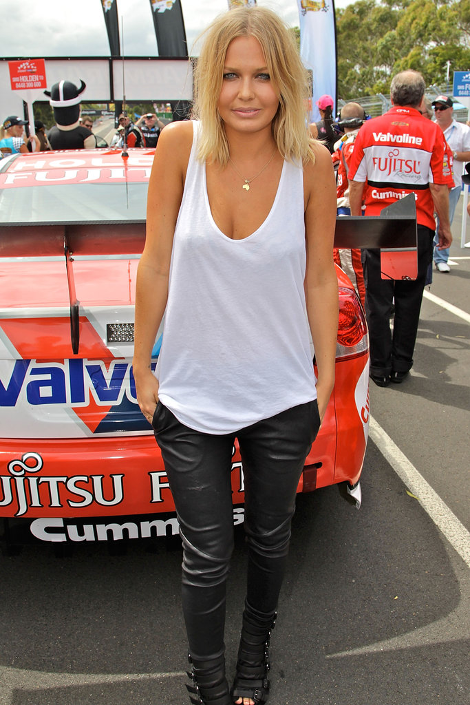 Simple and sexy in a white tank at the Sydney 500 V8 Supercars Qualifying and Race 25 event in Dec. 2010.