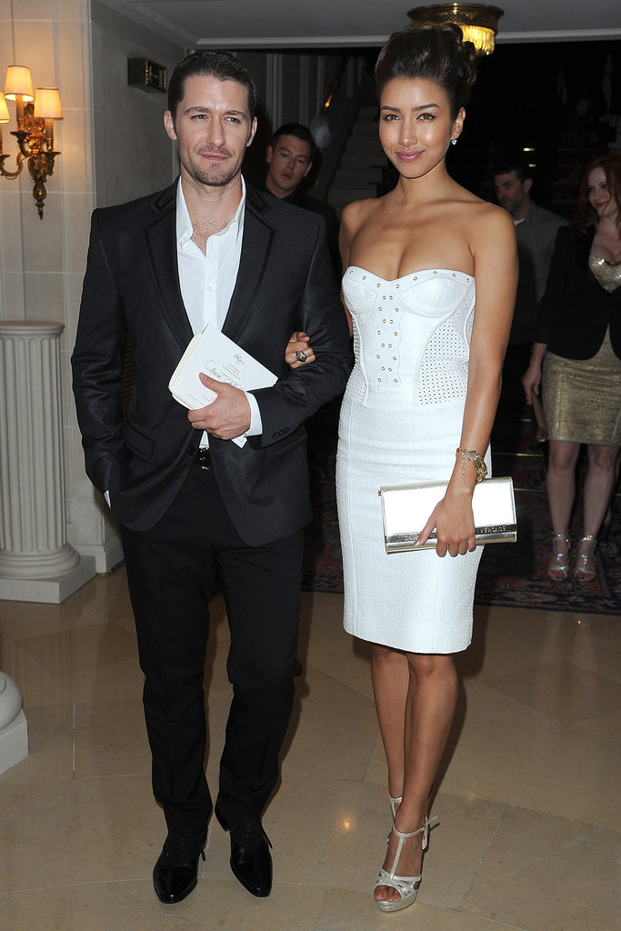 Matthew Morrison arrived at the Versace show for Paris Fashion Week with Renee Puente.