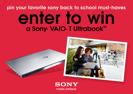 Win the New Sony® VAIO® T in Our Back to School Pinterest Contest