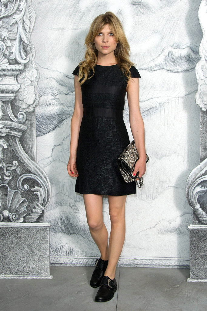Clémence Poésy took the unexpectedly cool approach, outfitting her LBD with a pair of edgier brogues at Chanel.