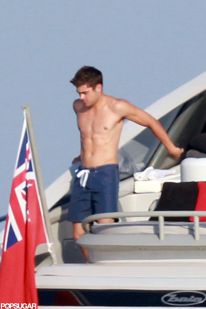 He got shirtless on a boat in Saint-Tropez during a July 2012 visit.