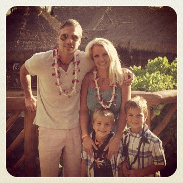 Britney Spears posed with Jason Trawick and her boys on vacation in July. Source: Instagram user britneyspears