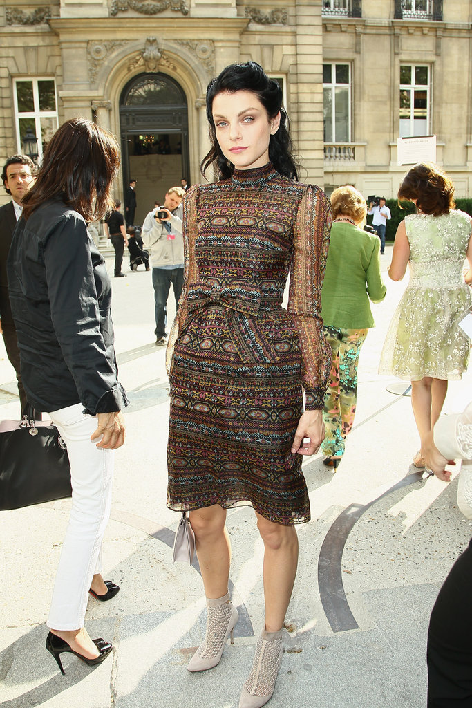 Jessica Stam looked sweet in a Valentino confection for the Couture show.