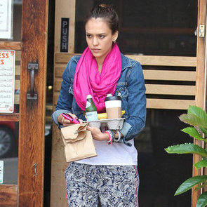 Jessica Alba Wearing Hot-Pink Flats