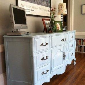 Light Blue Refinished Dresser DIY