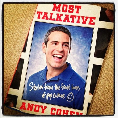 "POPSUGAR Moms chose Most Talkative: Stories From the Front Lines of Pop Culture by Andy Cohen, writing, ""Woo hoo! A little me-time reading!!"""