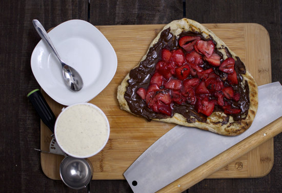 Sweet Pizza With Strawberries and Chocolate