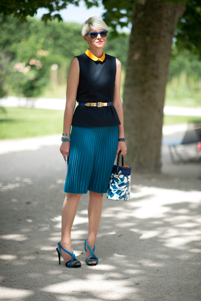 Nail office polish with a study in colorblocking and (breathable!) Summer pleats. Photo courtesy of Adam Katz Sinding