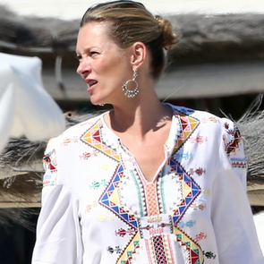 Kate Moss in White in St.-Tropez (Video)