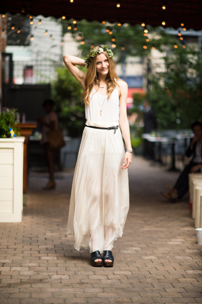 Nothing feels quite so ethereal as a sheer, creamy maxi (and a floral headdress).