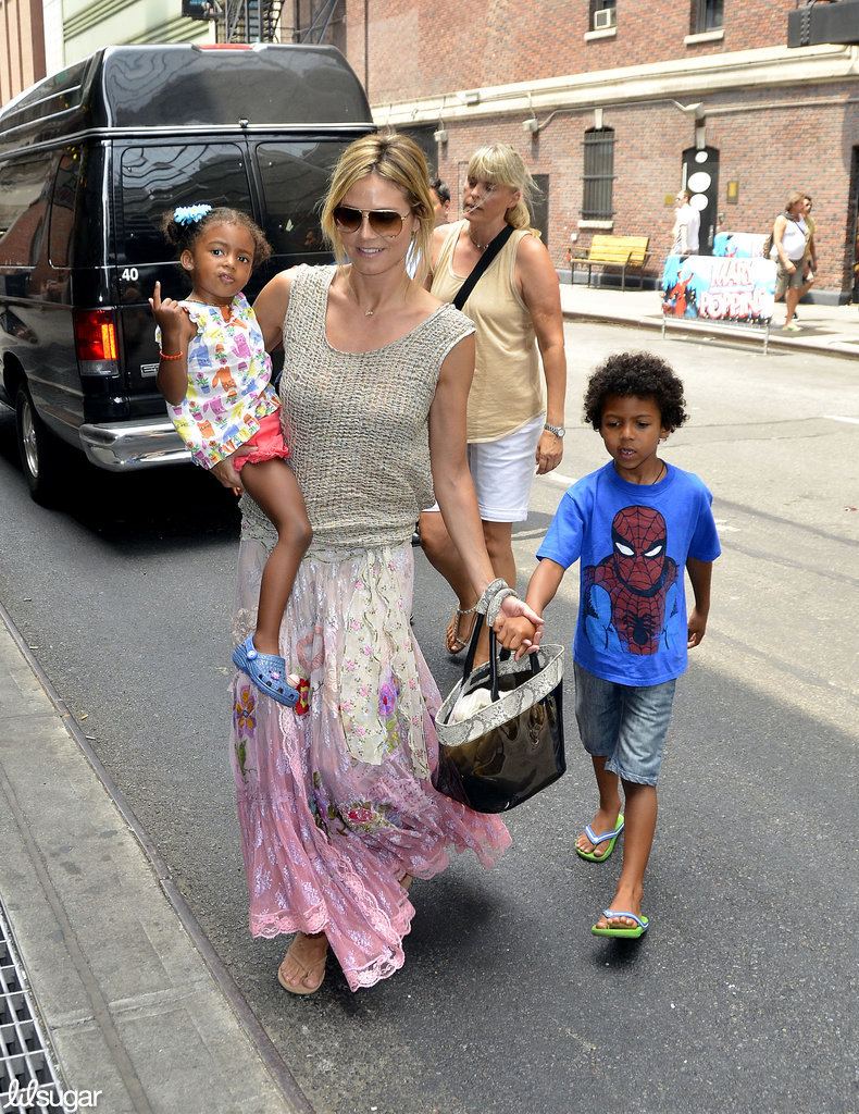 Heidi Klum spent the day with her kids Lou and Johan in NYC.