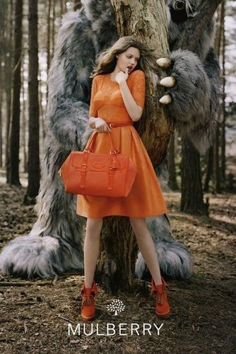 """Lindsey Wixson plays opposite the """"wild things"""" in Mulberry's Fall 2012 campaign."""