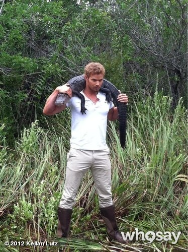 Kellan Lutz posed with an alligator to support the Everglades Foundation. Source: Kellan Lutz on WhoSay