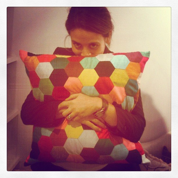 Our publisher Marisa had a very soft landing when she fell for this Megan Park cushion.