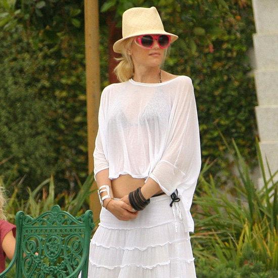 Gwen Stefani Wearing a White Ruffle Maxi Skirt