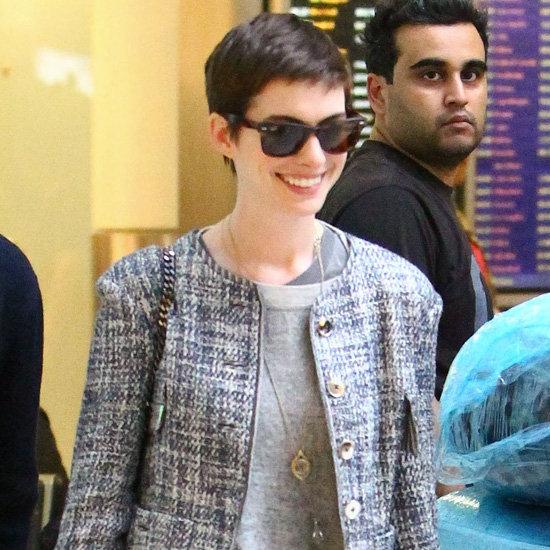 Anne Hathaway Wearing Tweed Jacket