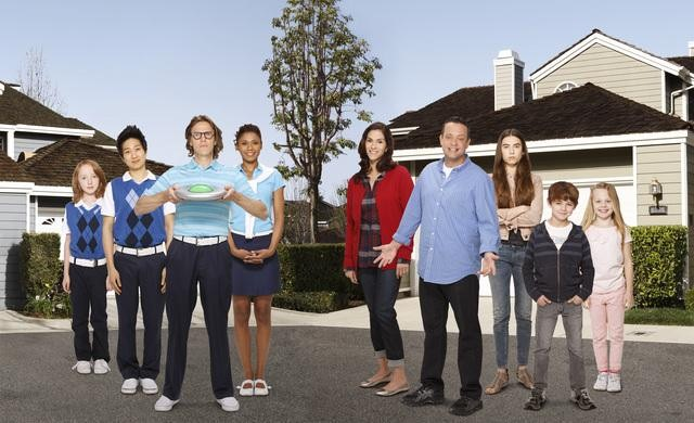 Jami Gertz, Lenny Venito, Simon Templeman, Toks Olagundoye, Clara Mamet, Tim Jo, Ian Patrick, Max Charles, and Isabella Cramp on The Neighbors.