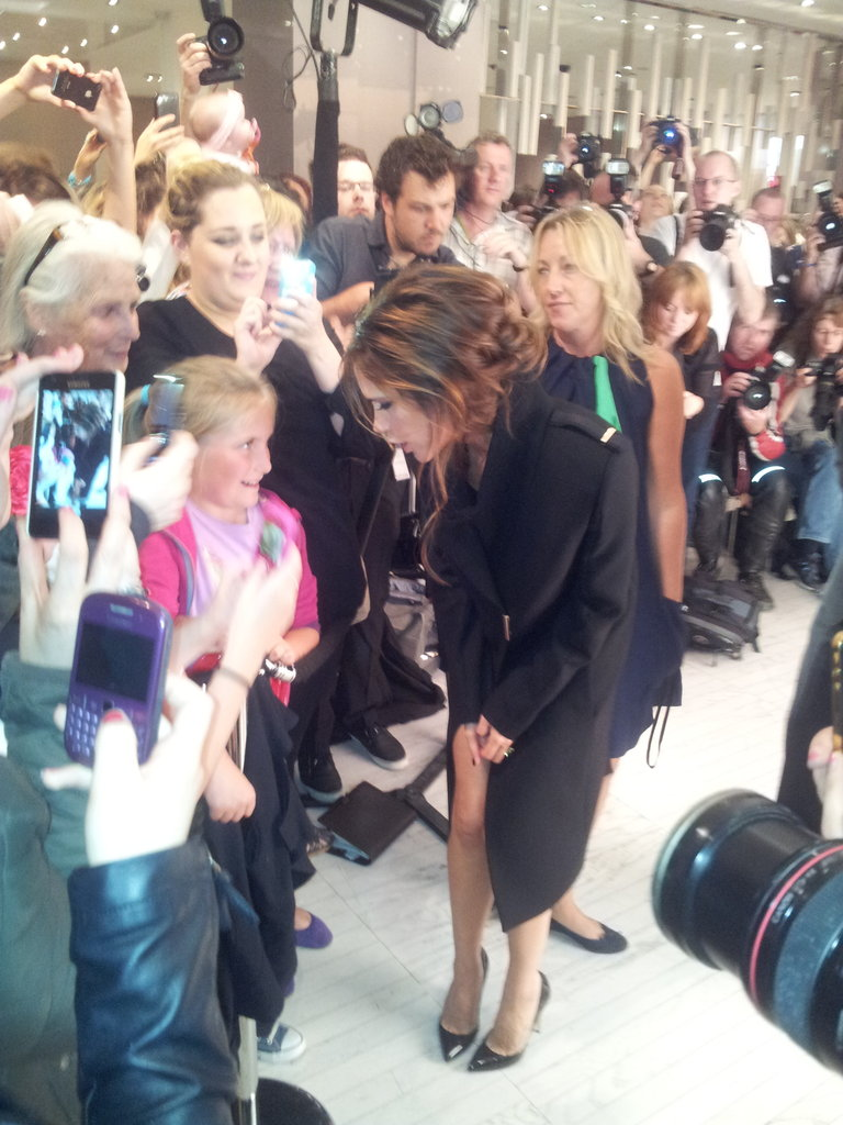 Victoria Beckham met young fans. Source: Twitter user BrownThomas