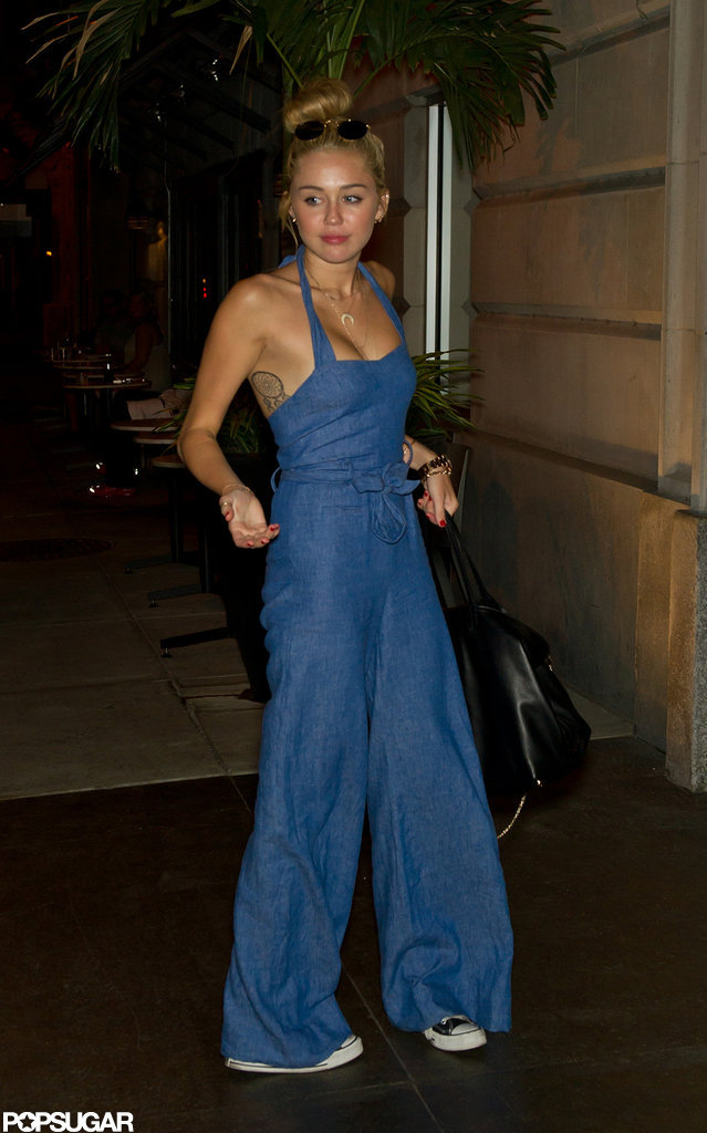 Miley Cyrus Wearing A Denim Jumpsuit | POPSUGAR Celebrity