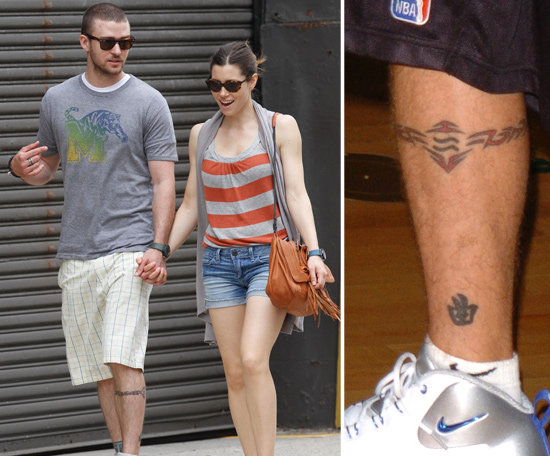 "Justin Timberlake has artwork on his arms and his legs. The singer's left calf is inked with a Chinese symbol meaning ""music"" and an astral band which has his sun sign symbol featured in the middle of the band."