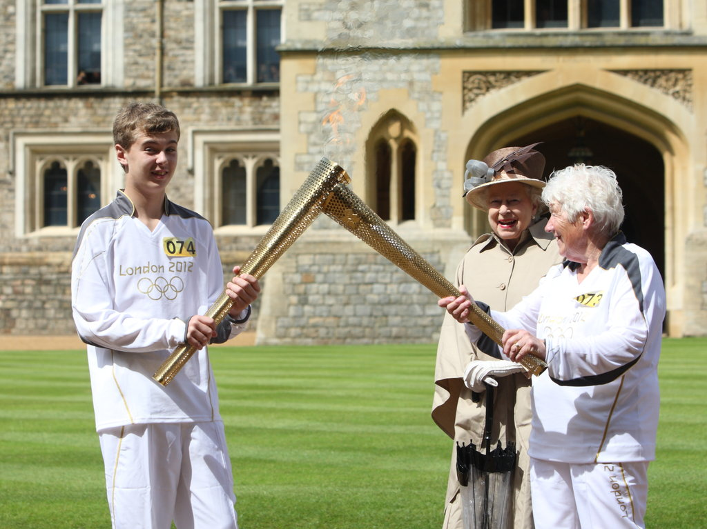 The queen took in the torch at Windsor.