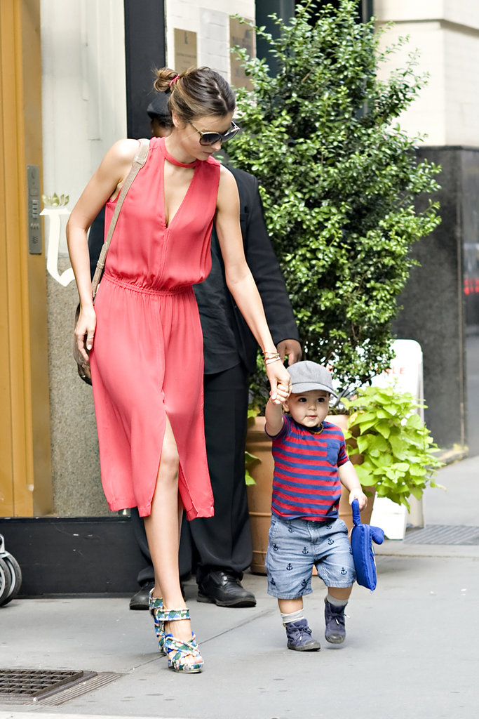 Miranda Kerr Holds Flynn's Hand For a Quick Walk in NYC