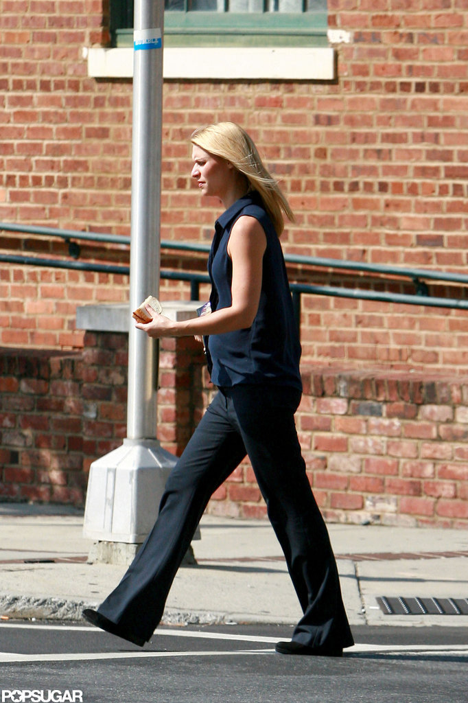 Claire Danes looked comfortable on set.