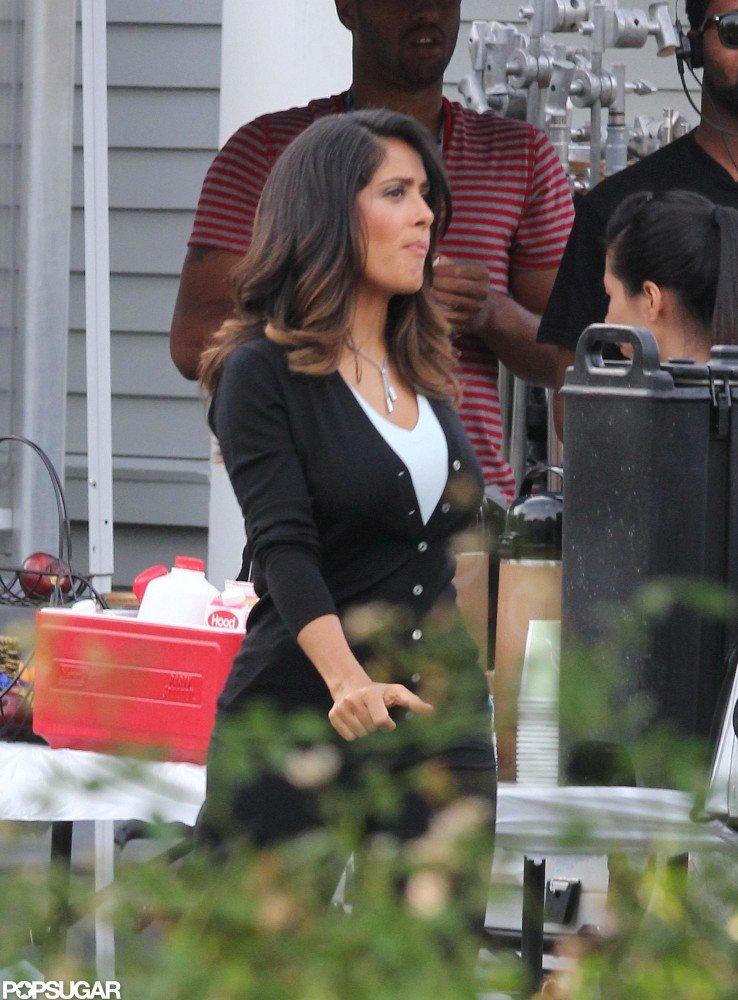 Salma Hayek on the set of Grown Ups 2.
