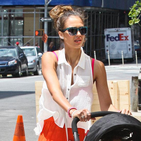 Jessica Alba Wearing Orange Maxi Skirt