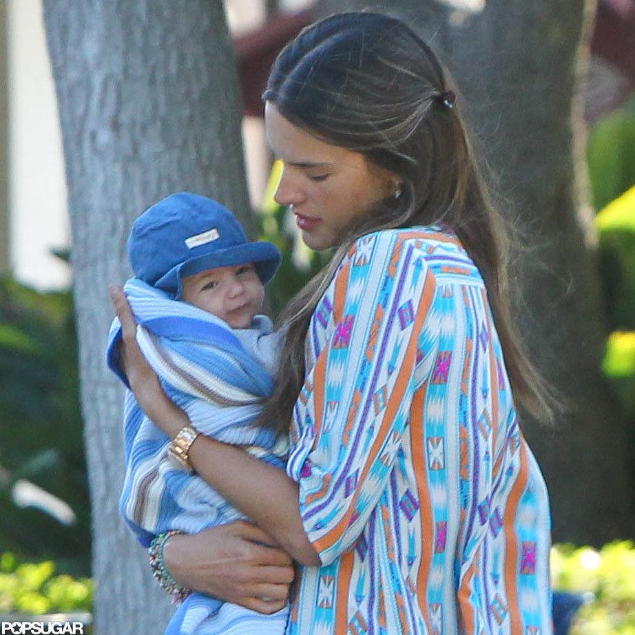 Alessandra Ambrosio cuddled Noah close.