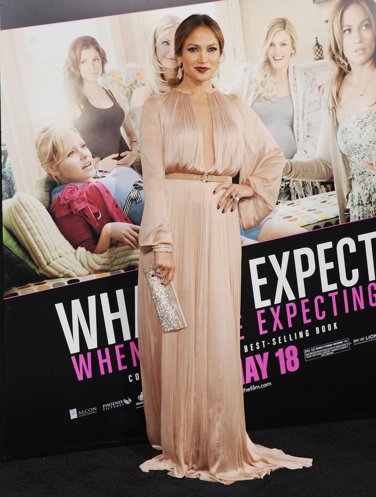 The performer opted for an elegant Maria Lucia Hohan gown at the What to Expect When You're Expecting Premiere.