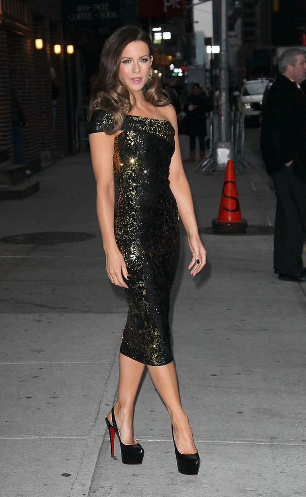 Kate Beckinsale posed in a tight dress and high black heels outside of the Late Show With David Letterman in January 2012.