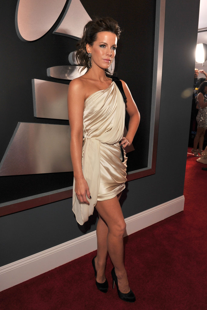 Kate Beckinsale donned a one-shoulder silk dress at the Grammys in February 2012.
