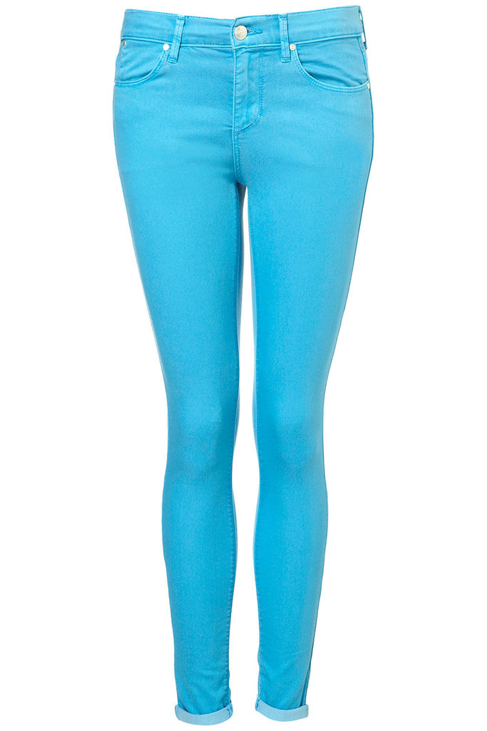 Feeling the neon trend this Summer? We've got you covered. Moto Turquoise Skinny Leigh Jeans ($22, originally $76)
