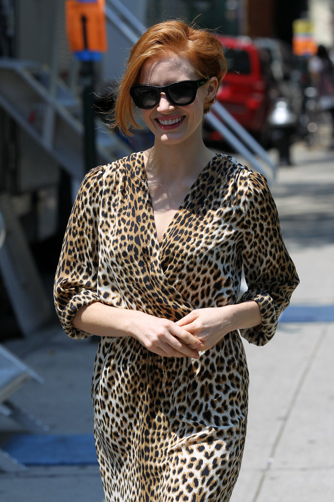 Jessica Chastain debuted a shorter 'do (it's a wig) on the Chelsea, NYC set of The Disappearance of Eleanor Rigby: His on July 23.