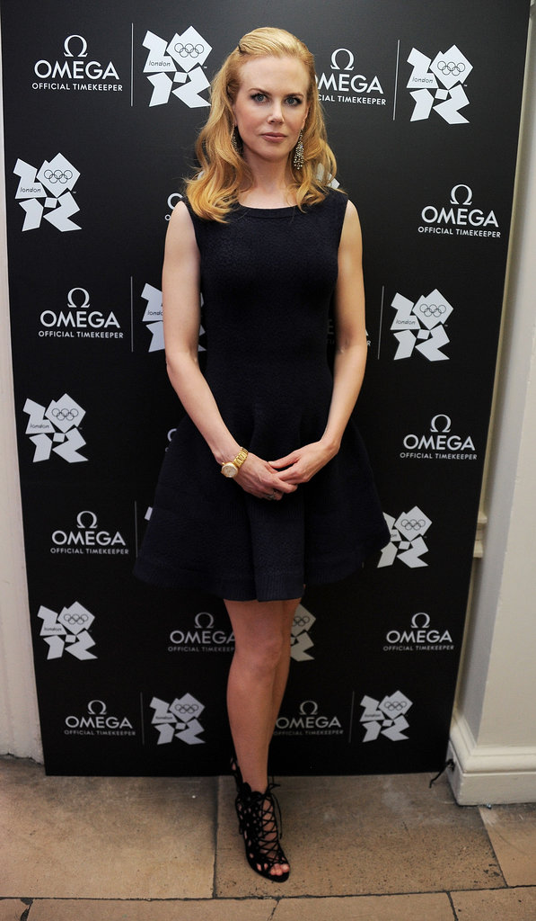 Nicole Kidman paired a flared Azzedine Alaia LBD ($3,191) with laceup Manolo Blahniks ($1,125) for Omega's debut of its special Olympic house location.