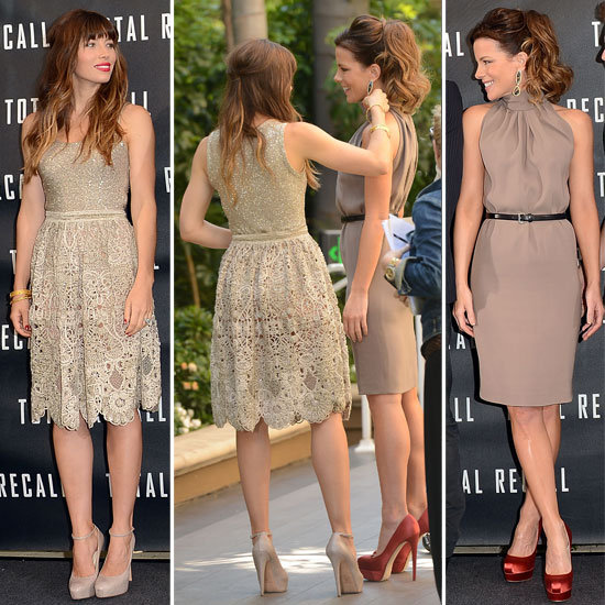 Jessica Biel and Kate Beckinsale Go Nude on Nude for the LA photocall for Total Recall: Compare Their Coordinating Looks