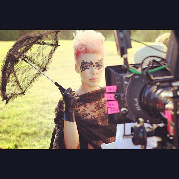 Pink shared a behind-the-scenes snap from her latest music video. Source: Instagram user pink