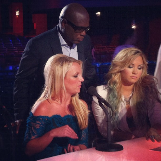 """Britney Spears, LA Reid, and Demi Lovato were """"deciding whether to eliminate Simon"""" on the set of The X Factor. Source: Instagram user thexfactorusa"""