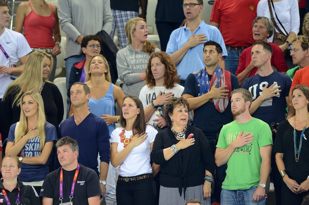 Bar Refaeli and Shaun White Cheer On Michael Phelps to Victory